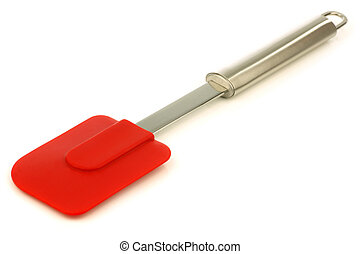 red silicon scraper on a white background