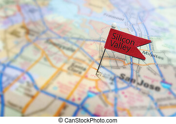 Red Silicon Valley pin in map near San Jose, California
