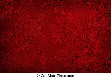 Red Silk Background - Red embroidered damask silk fabric,...