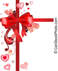 Red silk bow with red contour heart shapes
