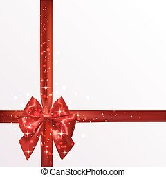 Red silk bow with ribbons and stars. Vector illustration