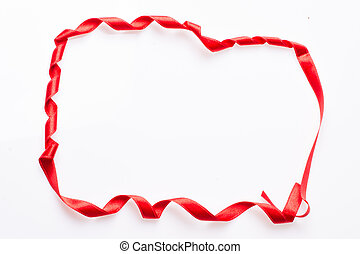 Red silk ribbon, in the form of a frame