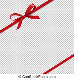 Red Silk Ribbons Isolated Transparent Background