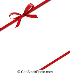 Red Silk Ribbons Isolated White Background