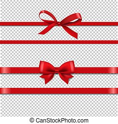 Red Silk Ribbons Set Isolated Transparent Background