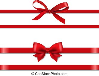 Red Silk Ribbons Set Isolated White Background