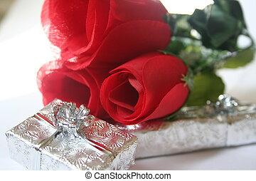 red silk roses