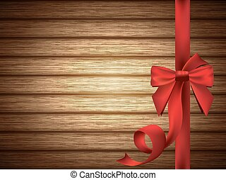Red Silky Bow with Ribbon over Wood