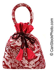 Red silky money bag : Lucky Pouch with Chinese dragons - A...