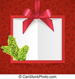 Red silky ribbon with bow and fir tree branch Christmas frame background
