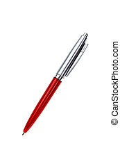 red silver pen isolated on white
