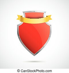 Red Silver Protection Shield