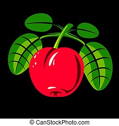 Red simple vector cherry with green leaves, ripe sweet berry...