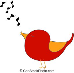 Red singing bird, illustration, vector on white background.