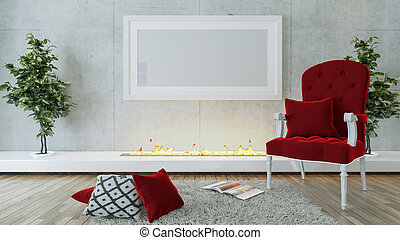 Red single seat and modern fireplace design concept interior design background 3D rendering