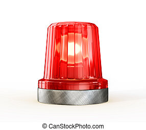 red siren isolated on a white background