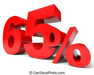 Red sixty five percent off. Discount 65%.