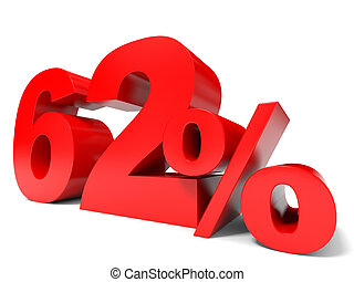 Red sixty two percent off. Discount 62%. 3D illustration.