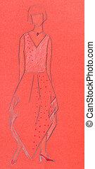 red sketch of woman knitwear - sketch of fashion model -...