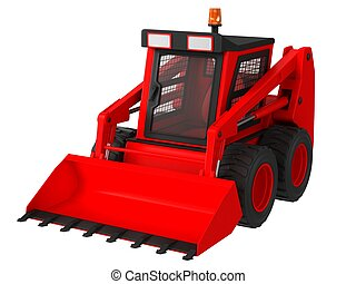 Red skid steer isolated on a white background.
