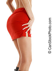 red skirt #2 - legs and hips of tanned lady in red skirt