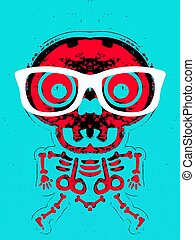 red skull and bone with glasses