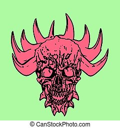 Red skull of a demon with crown of thorns. Vector illustration.