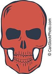 Red Skull on White Background. Vector