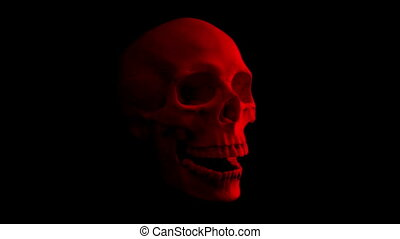Red Skull Talking Loop - Side View - Side view of human...