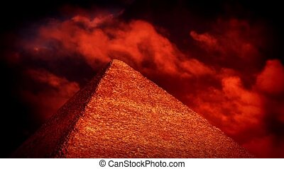 Red Sky Over Pyramid Esoteric Concept - Blood red sky over...
