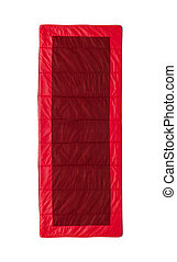 red sleeping bag isolated