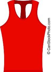 Red sleeveless shirt icon isolated