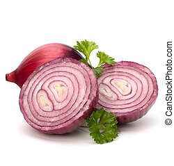 Red sliced onion and fresh parsley still life isolated on...