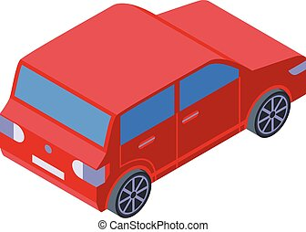 Red small car icon, isometric style