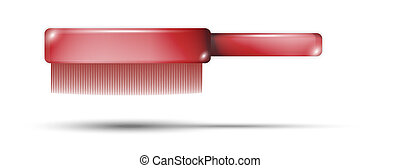 red small-tooth comb with shadow on white background