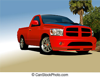 Red small truck on the road. Vector illustration