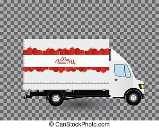 Red Small truck. Silhouette. Vector Illustration. - Red...