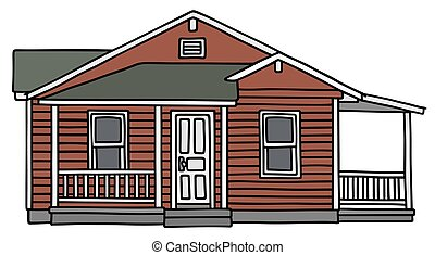 Red small wooden house - Hand drawing of a dark red small...