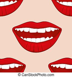 Red smiling womans lips vector seamless pattern