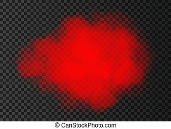 Red smoke cloud isolated on transparent background. Steam ...