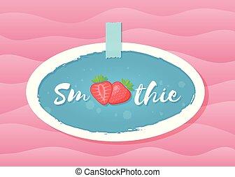 Red smoothie strawberry cocktail sticker graphic