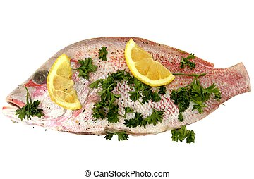 Red snapper with lemon slices