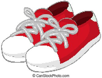 Red sneaker in cartoon style isolated on white background