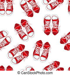 Red sneakers on white background isolated. Vector illustration