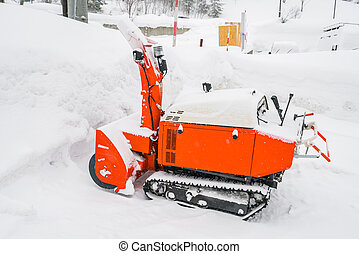 Red Snow blower machine vehicle