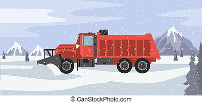 Red snow plow truck cleans snowy road in snowfall a vector illustration