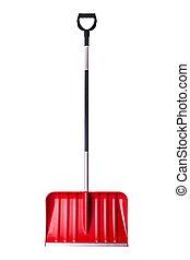 Red snow shovel