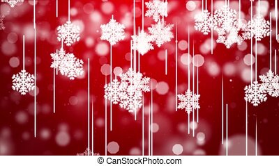 Red Snow with Falling Snowflakes Winter Loop Background 4k Animation.