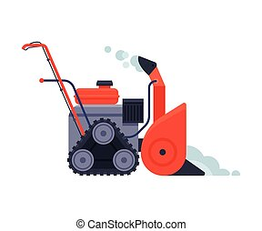 Red Snowblower, Winter Snow Removal Machine, Cleaning Road Equipment Vector Illustration