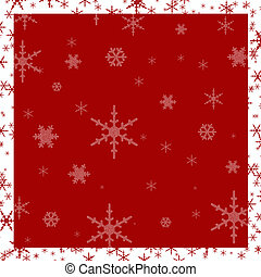 Graphic illustration red background with white trim and snowflakes.